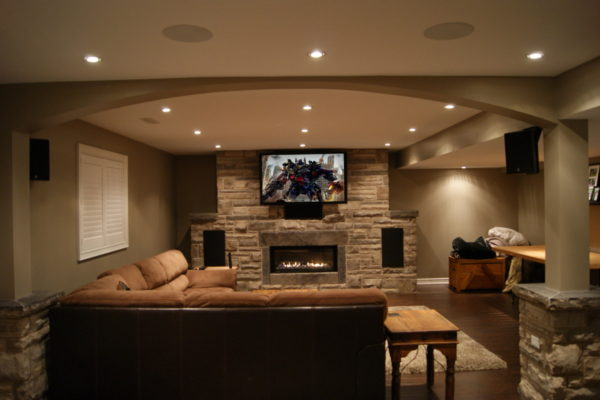 home theatre system with mounted television